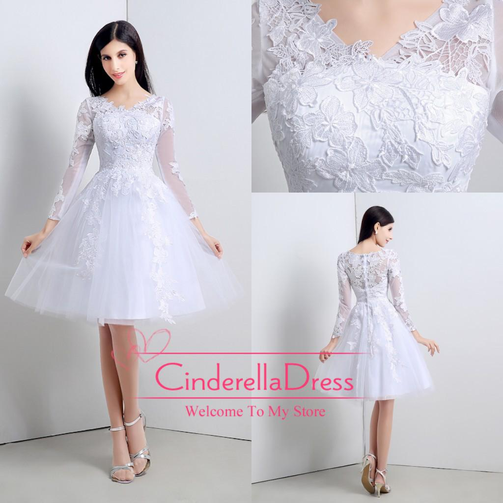 White Princess Ball Gown Short Knee Length Lace Wedding