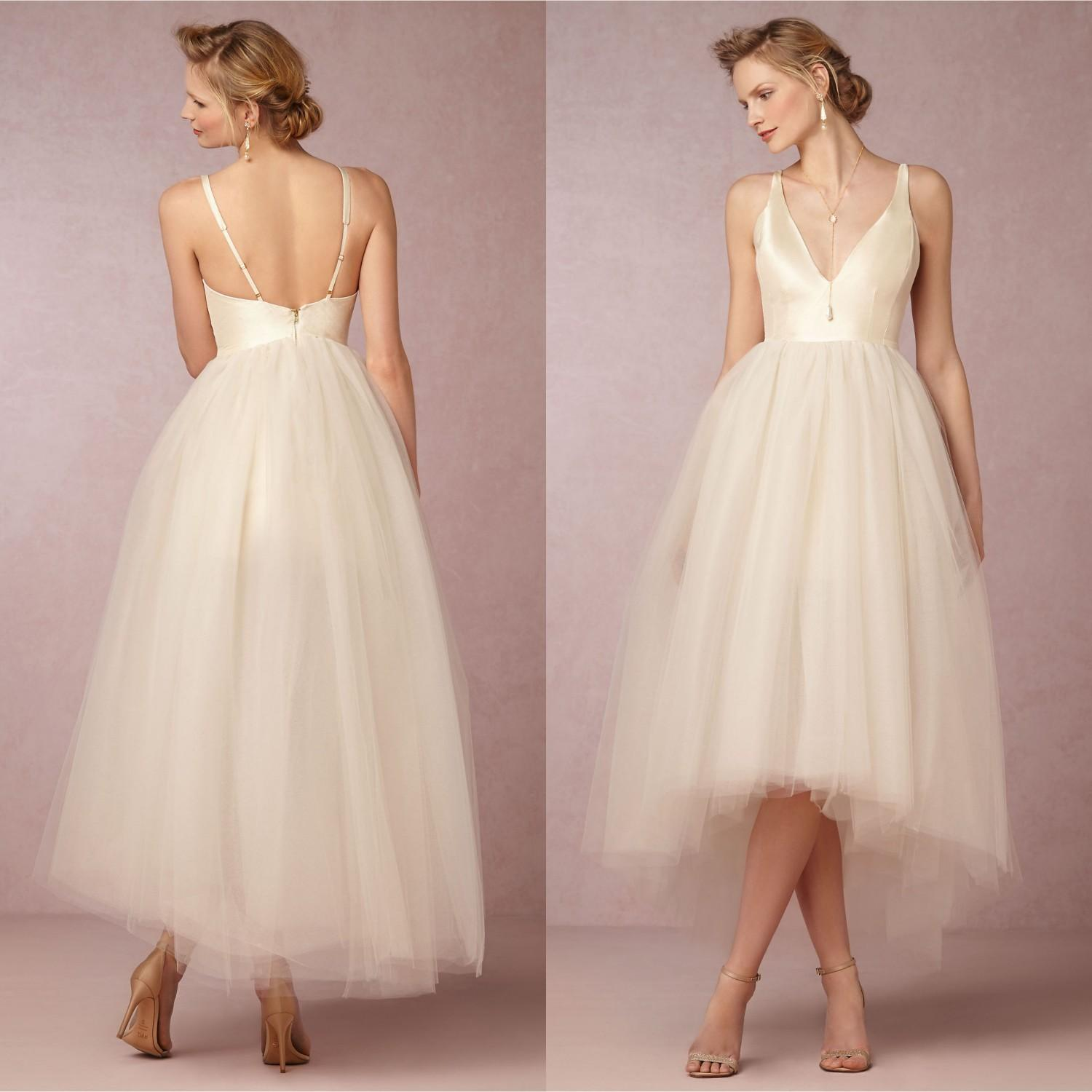 Discount 2015 Summer Tea Length Tulle Wedding Dress With