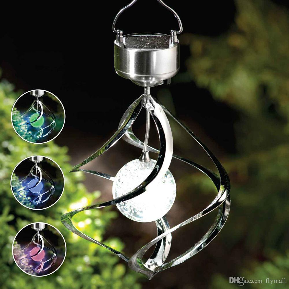 Solar Powered Couleur Changing Vent Spinner LED Lumière Hang Spiral Jardin Pelou