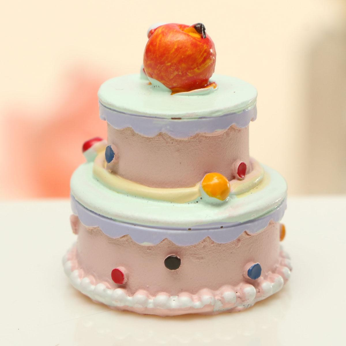 3pcs Cute Diy Doll House Toy Accessories Mini Simulation Food Birthday Cake Ornament Photographing Small Props