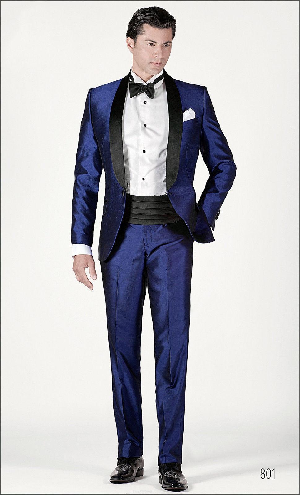 Hot Sale Prom Wedding Suit Tuxedo Shiny Blue Custom Made Suit