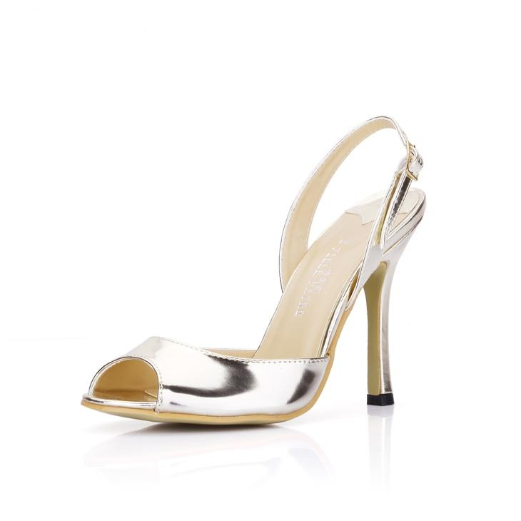Light Gold Wedding Shoes Cheap Bridal Shoes Buckle Strap Back ...