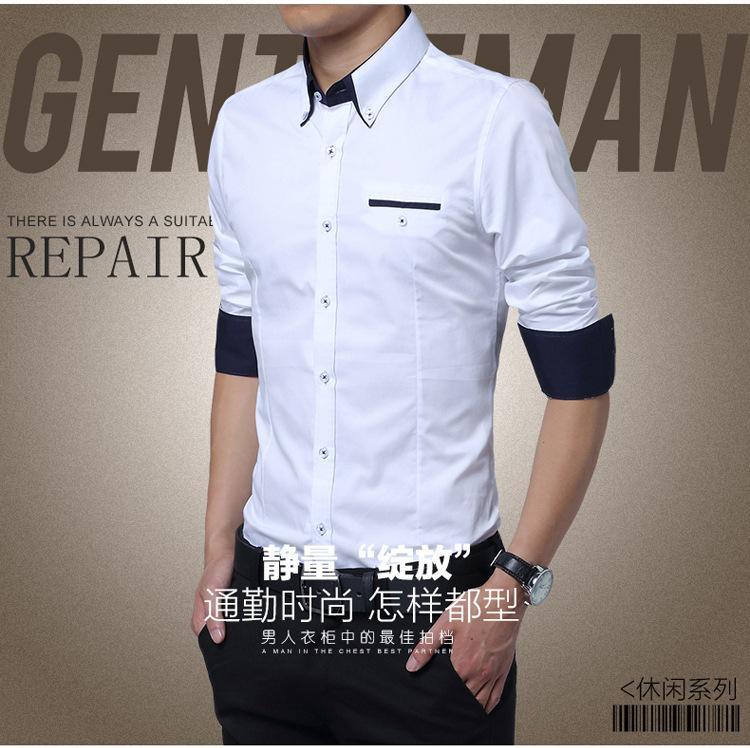 Plus Size 5XL 2015 New Mens Dress Shirts Long Sleeve Lapel Casual ...