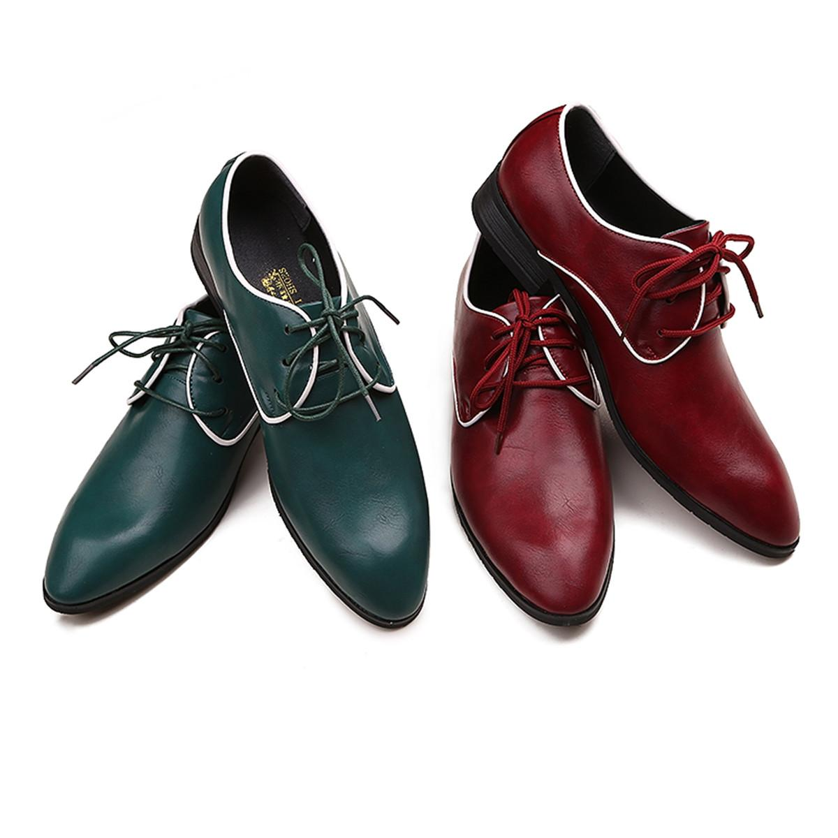 Burgundy Green Pu Leather Shoes Men S Wedding Shoes Lace