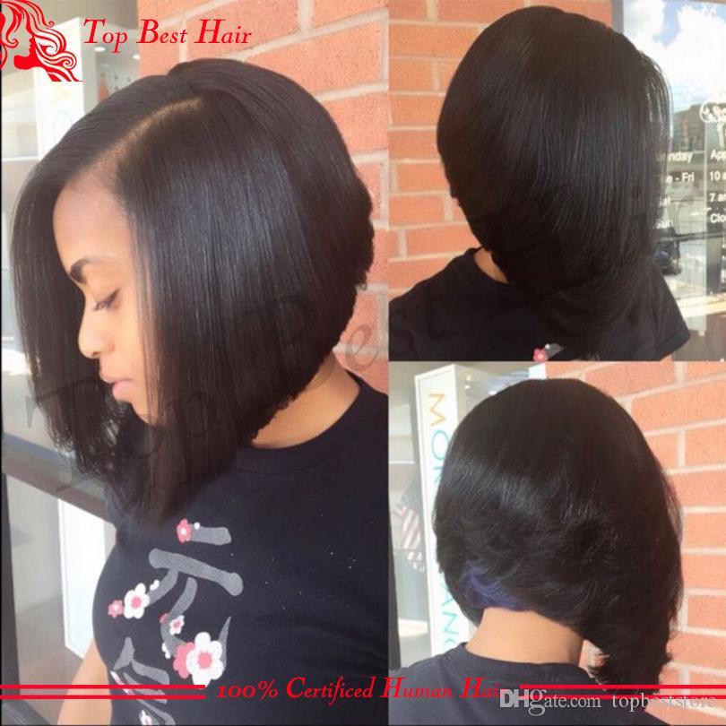 U Part Human Hair Wigs Bob For Black Women Unprocessed