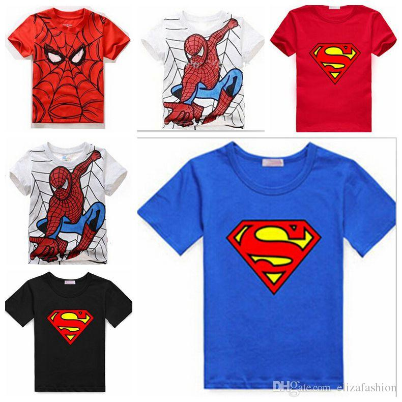2017 boys t shirt baby spiderman clothing cotton tee short Boys superhero t shirts
