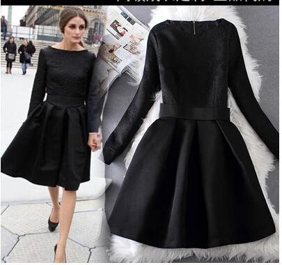 Olivia Palermo Elegant Black Dresses Jacquard Long Sleeve Vintage ...