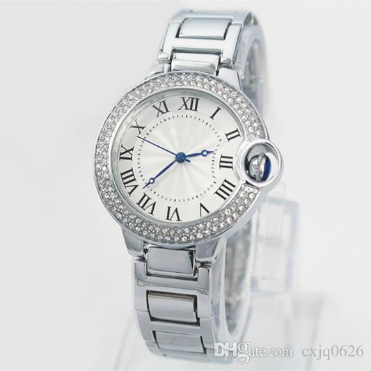 A pcs/lot New Fashion Style Women/man Watch Lady Watch silver case Diamond Steel Bracelet Chain Luxury lovers Watch High Quality free box