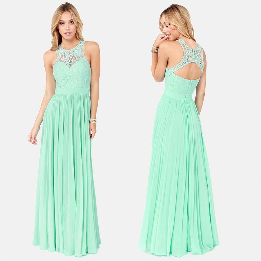 2017 New Style Floor Length Mint Green Bridesmaid Dresses ...