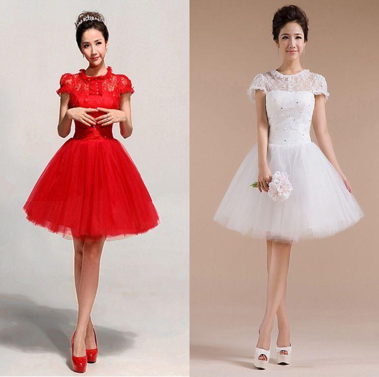 The Bride Wedding Dress Red Lace Short Design Evening Dress White ...