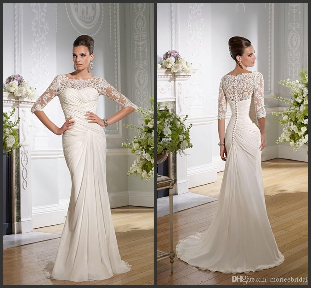 Cross Over Ruched Chiffon Sheath Wedding Dresses Lace Half