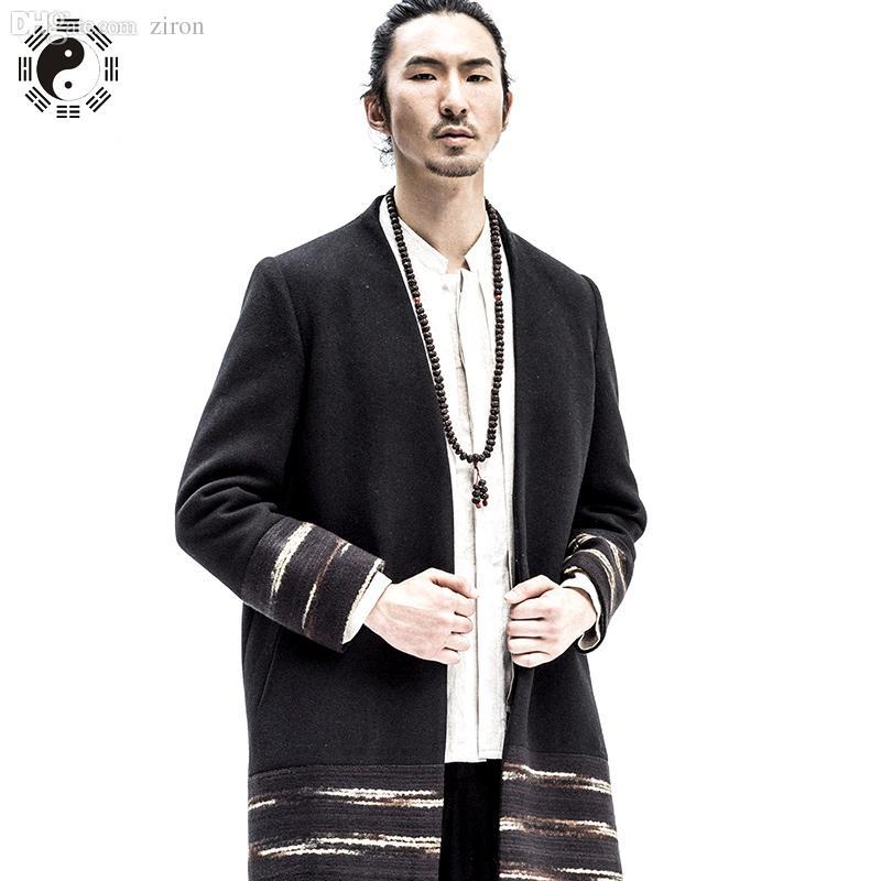 Best Fall Simple Manteau Homme Honest Long Trench Pea Coat Men