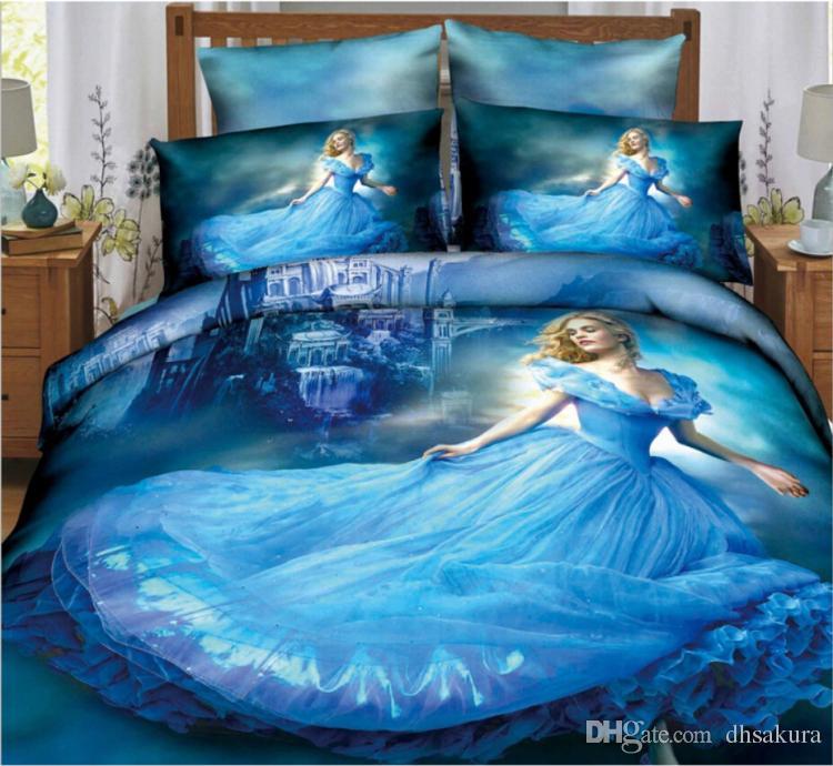 2015 New Arrivals Cinderella Bedding Sets 3d Printed Suit
