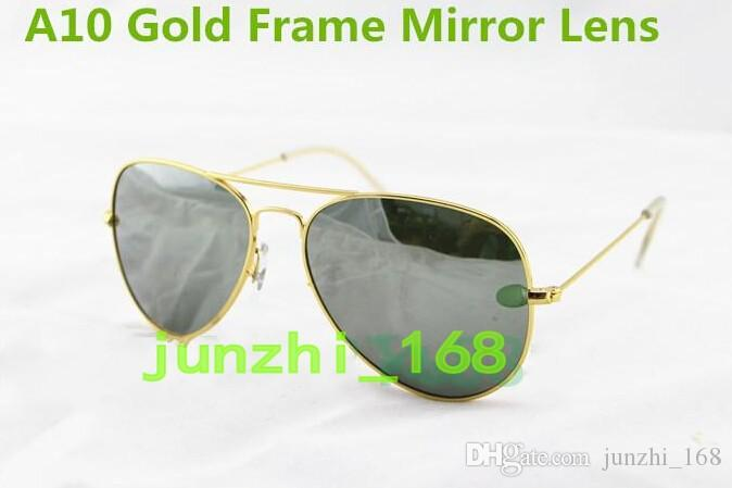 1pcs Hot Brand Mens Womens Large Metal Sunglasses Designer Glasses Gold / Mirror