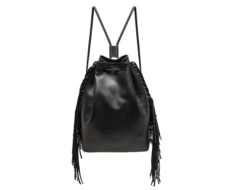 Famous Brand Leather Backpack Women Black Fringe School Bags ...