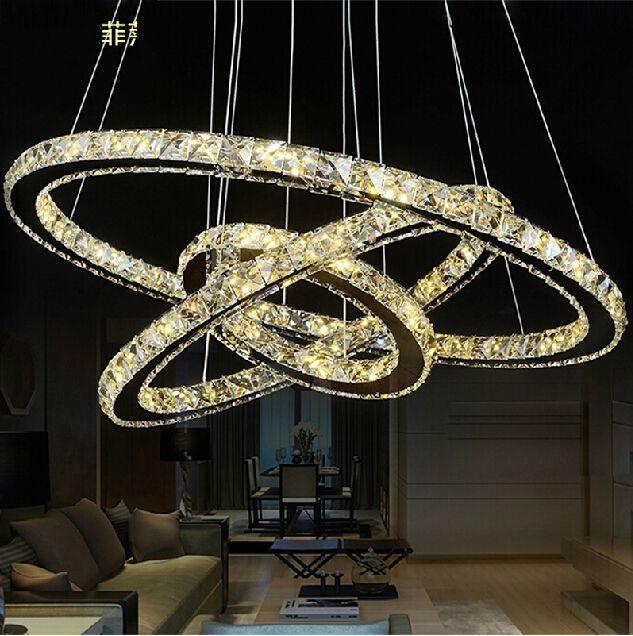 3 Circles 403020cm LED Round Crystal Chandelier Light Modern