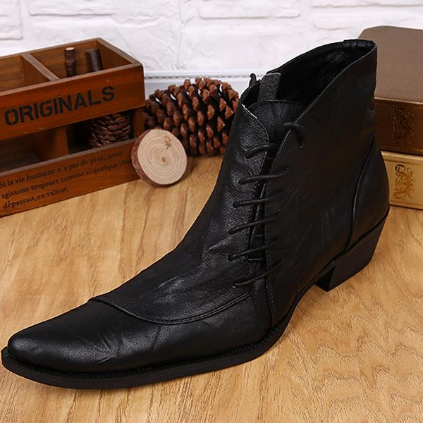 2017 Style Fashion Men's Boots Lace-Up Martin Boots Pointed Toe ...
