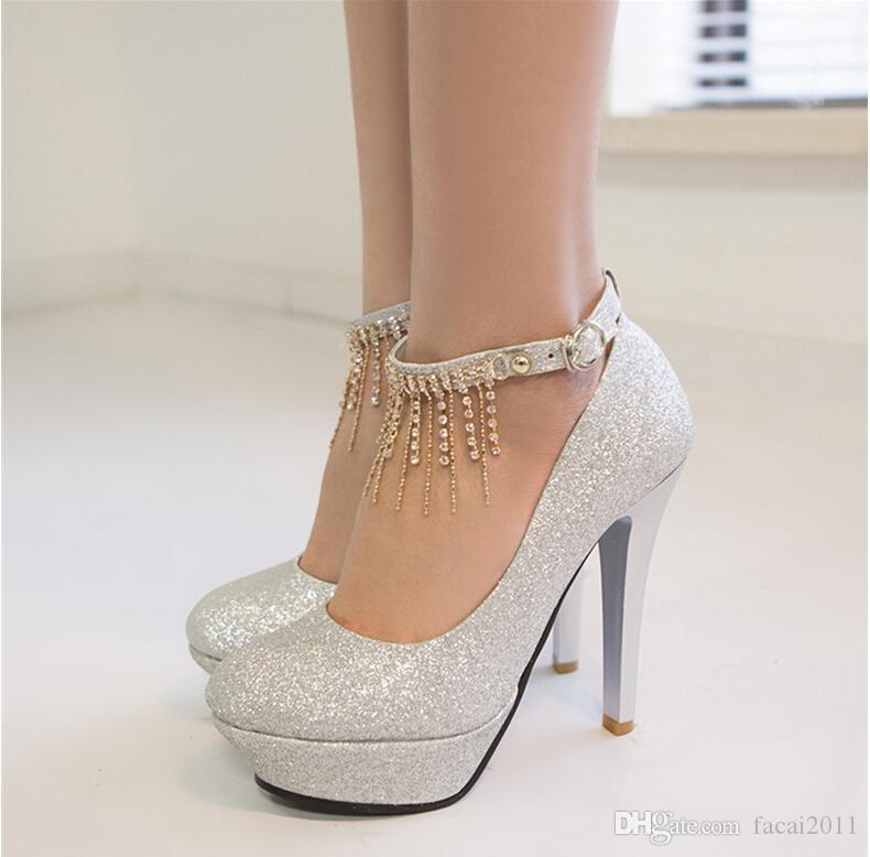 New 2017 Single Sequined Shoes High with a Word Buckle Bridesmaid ...