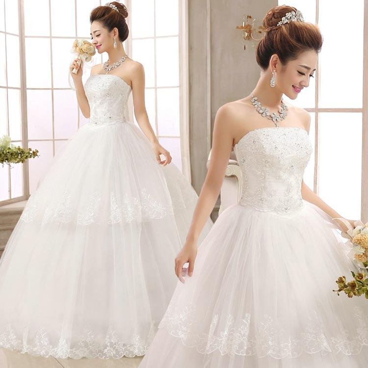 2015 White Crystal Ball Gown Wedding Dresses Strapless