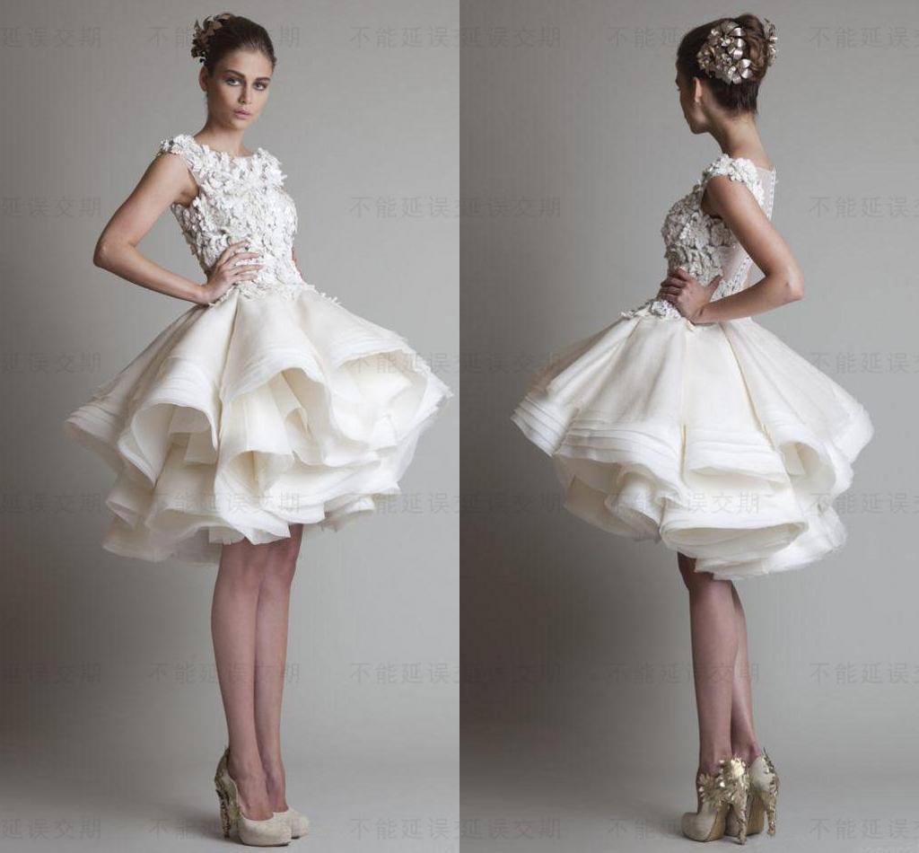 Discount Krikor Jabotian Short Lace Wedding Dresses 2016 Ivory ...