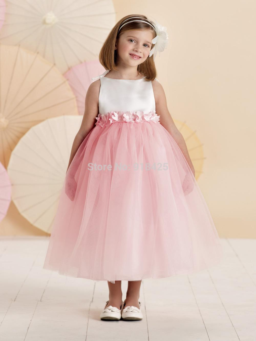 Puffy Pink And White Flower Girl Dresses Party Gown For Little ...