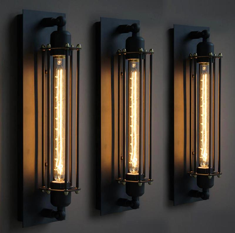 Black Metal Industrial Mini Wire Cage Wall Lamps Sconce Shade ...