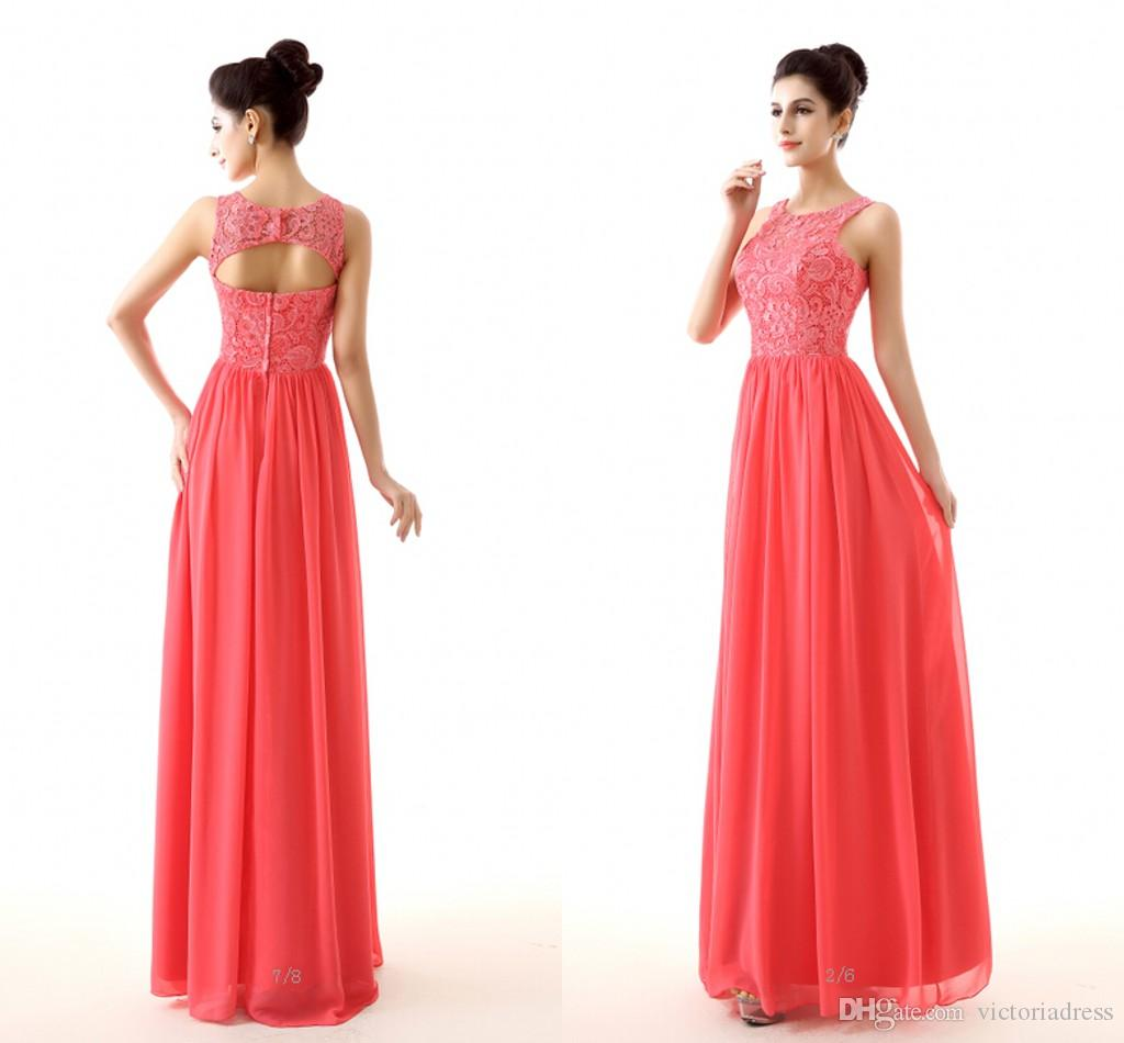 Cheap Coral Color Bridesmaid Dresses 2015 New Design Lace And ...
