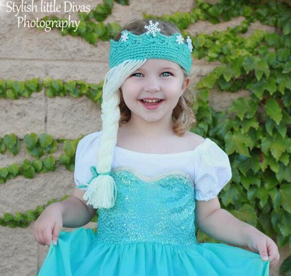 Crochet Elsa Hair : ... ! Fashion! Elsa Princess Crown / Tiara Hair Wig! Children crochet hat