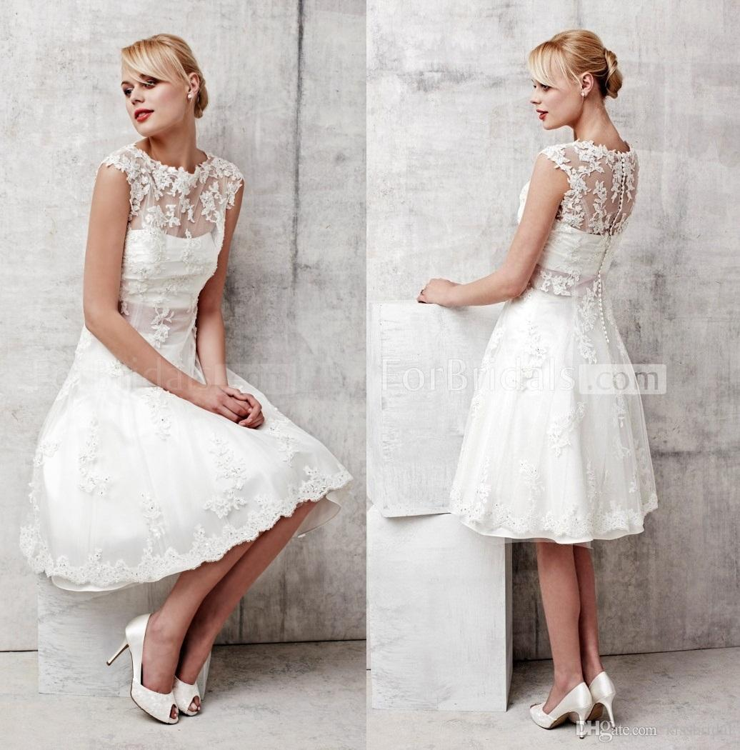 Discount Cheap Bohemian Lace Wedding Dresses Beach Boho Short 2017 Garden Vintage Bridal Gowns