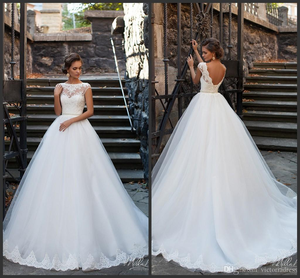 Milla nova 2016 ball gown wedding dresses sheer bateau for Crystal design wedding dresses price