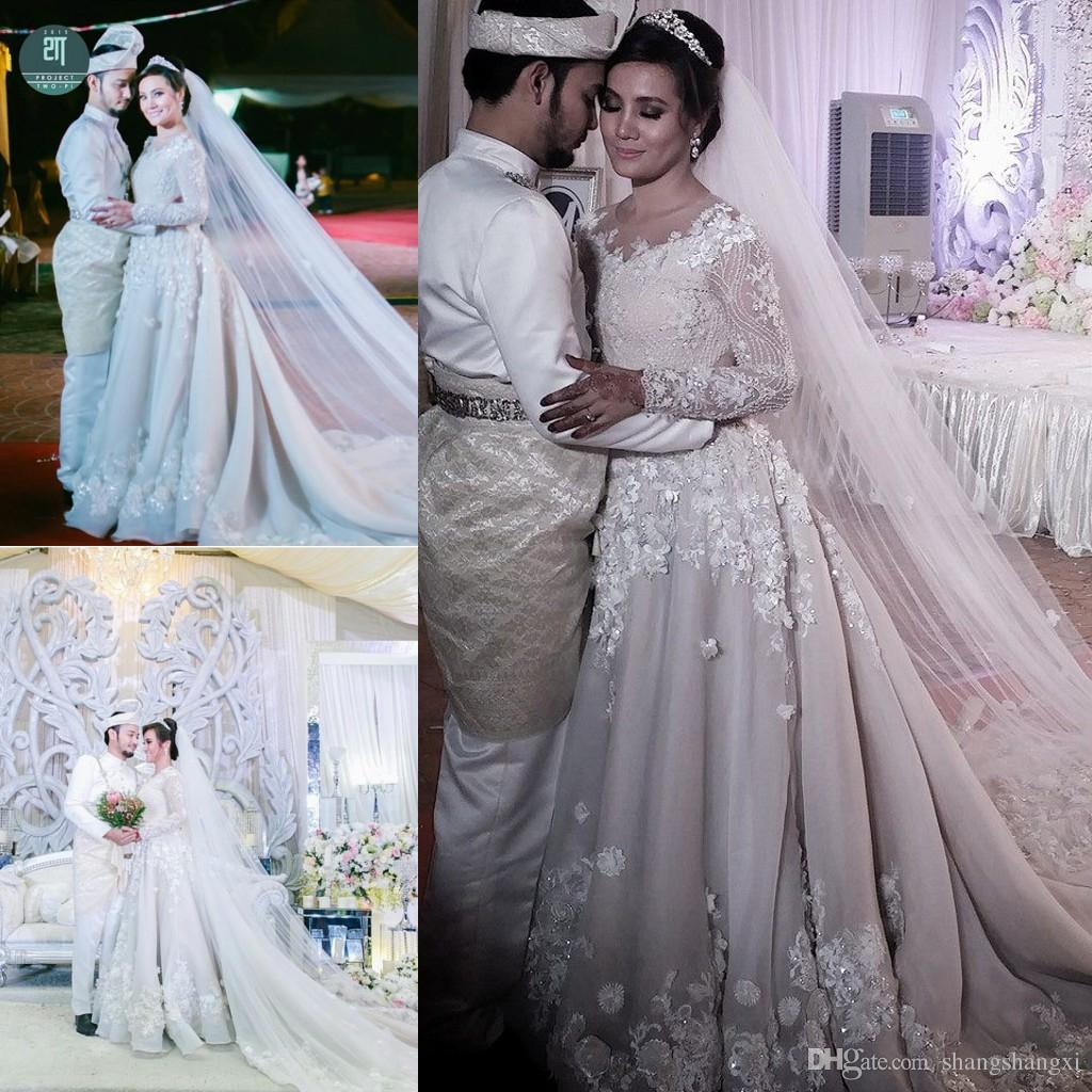 2015 arabic wedding dresses modest a line scoop with beading 2015 arabic wedding dresses modest a line scoop with beading sequins lace appliques bodice long sleeves high quality muslim wedding dresses 2015 wedding ombrellifo Image collections