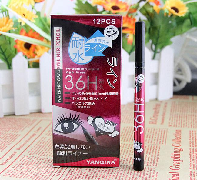 YANQINA 36H Maquillage Eyeliner Pencil Waterproof Black Eyeliner Pen No Blooming