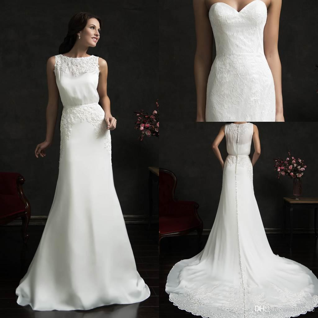 Modern sheath vintage wedding dresses 2015 amelia sposa for Modern vintage lace wedding dress