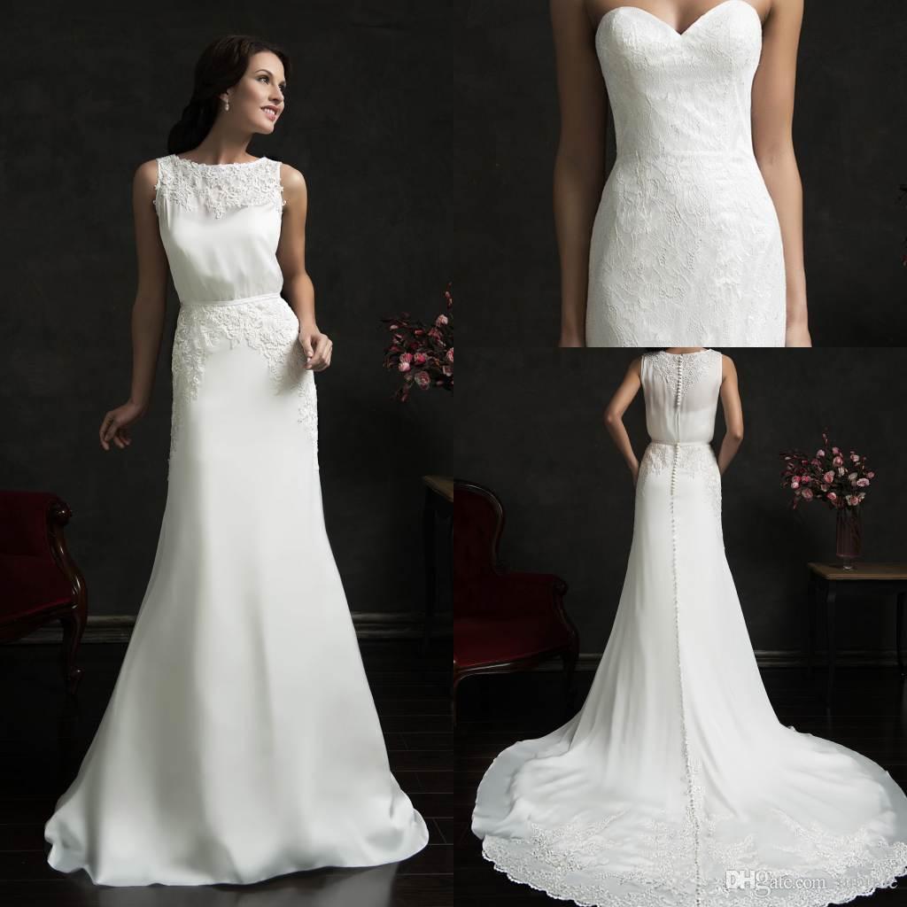 Modern Sheath Vintage Wedding Dresses 2015 Amelia Sposa