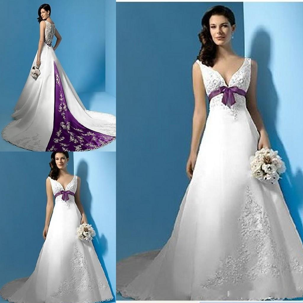 Luxury White Wedding Dress With Purple Trim