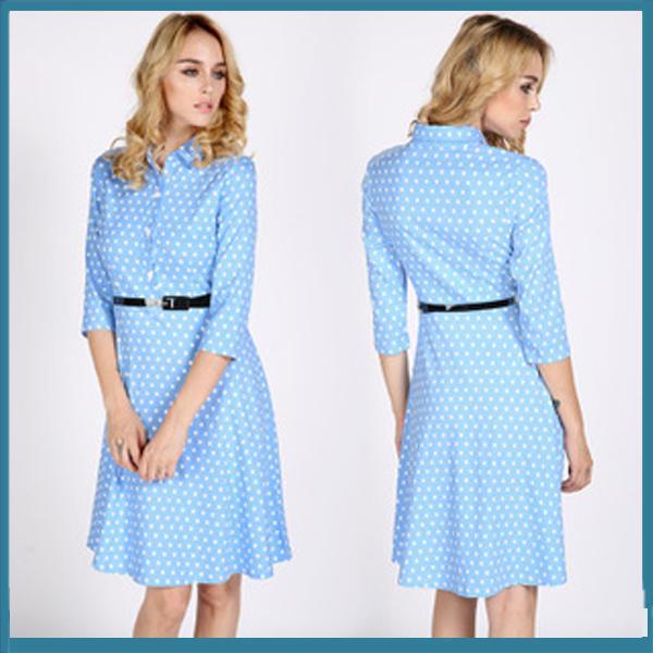 2015 Women Polka Dot Print Knee Length Dresses A Line