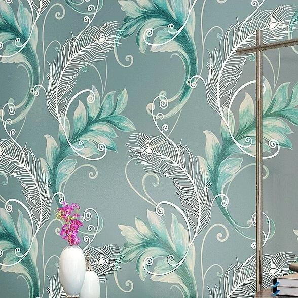 Peacock Feathers Modern Vintage Damask Textured 3D Murals Wall Paper Sticker  For Bedroom Wall Art DIY Wall Decals WallPaper Roll Wallpaper Feather Tulle  ... Part 98