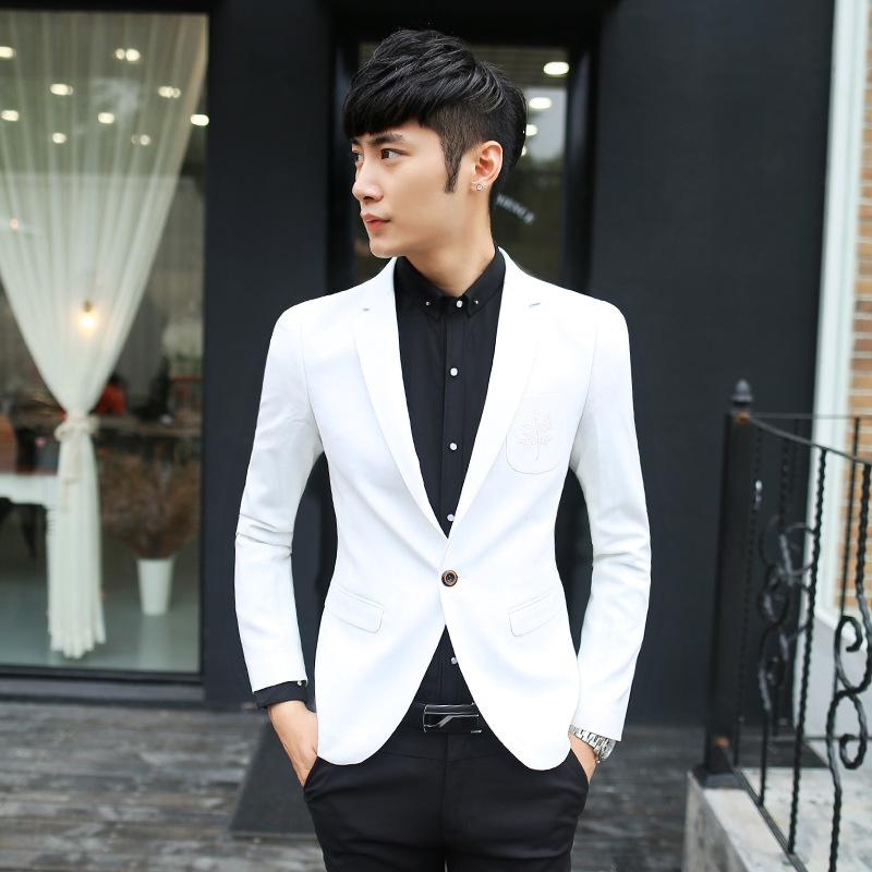 Men's Slim Fit White Blazer Suit Jacket Groomsmen Suits 1 Button ...