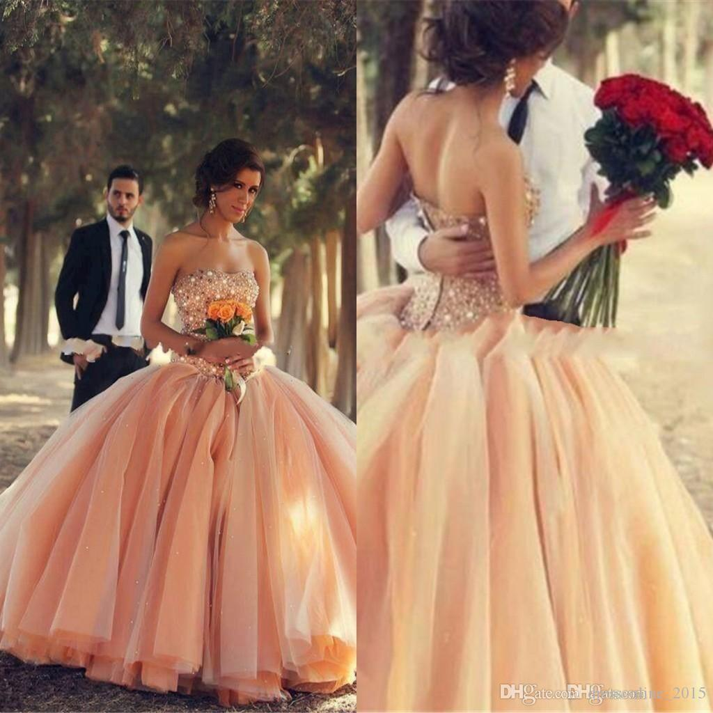 2015 Champagne Quinceanera Dresses Coral Organza Crystals Beaded ...
