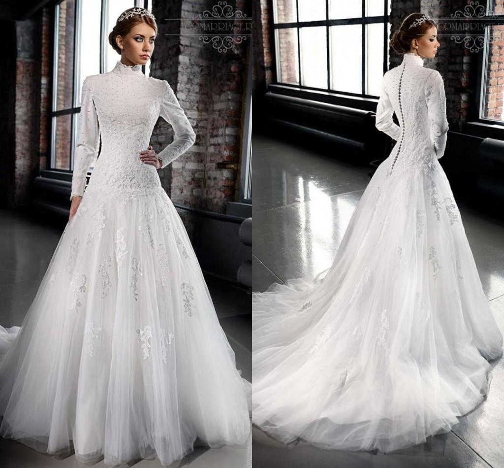 Discount 2016 New Designer Modest Wedding Dresses With Sleeves ...