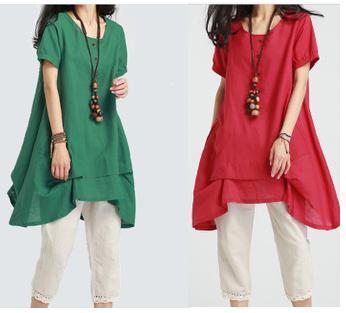 Fashion Women Linen Casual Dresses 2015 Summer Irregular Hem Loose ...