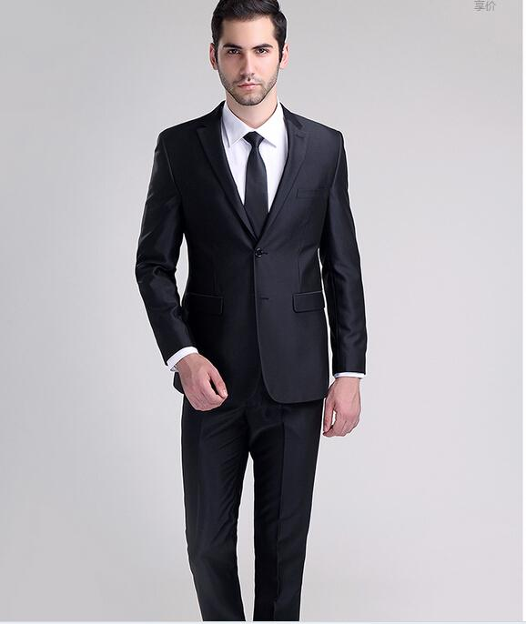 Shiny Black Men Business Suits The Groom Wedding Suits Cultivate ...