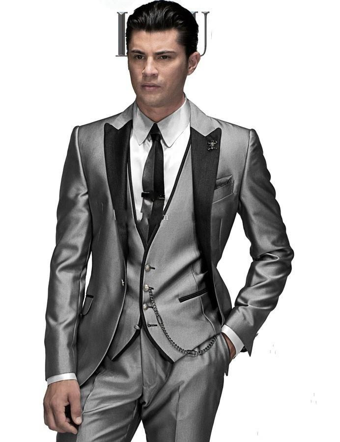 New Handsome Peaked Lapel Light Grey Groom Tuxedos Best Groomsman ...