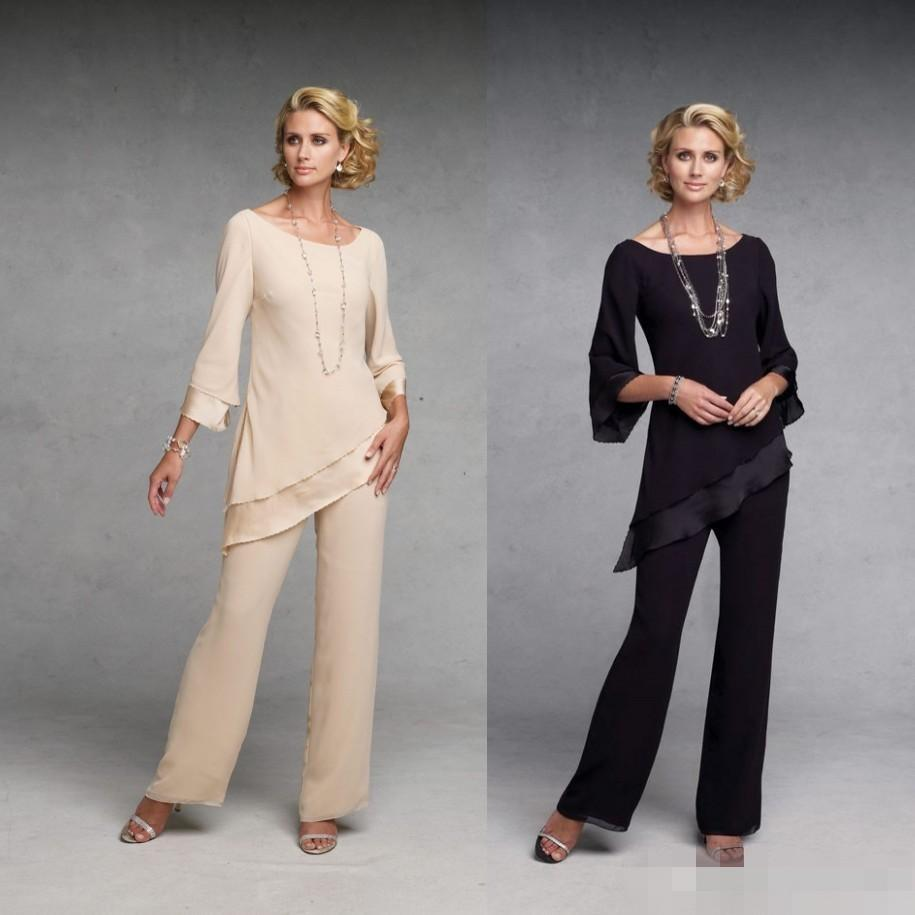 Elegant sexy 2015 mother of the bride pant suits dresses with long