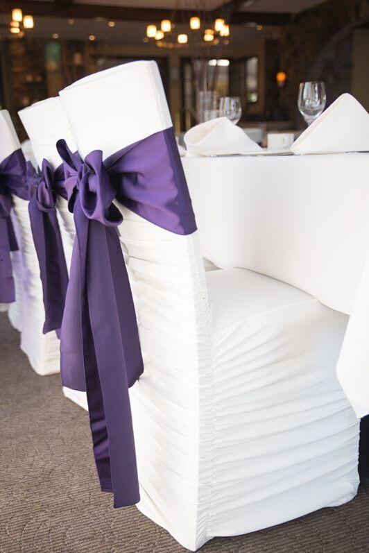 2017 2015 Purple Wedding Chair Sashes Taffeta Custom Made In Sale Cheap Wedding Chair Covers Bow