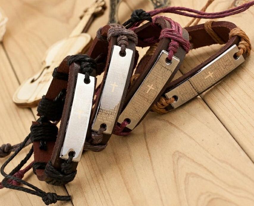 Religious Bracelets Men Jewelry Charm Genuine Leather