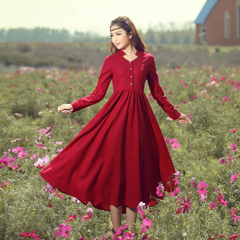 2017 2014 Original Design Womens Linen Dress Long Sleeve Stand ...
