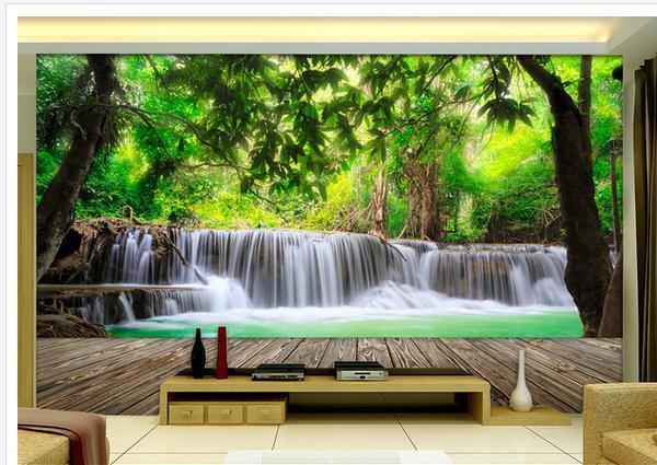 Wallpaper mural wallpaper wood forest waterfall scenery 3d for 1wall forest wallpaper mural