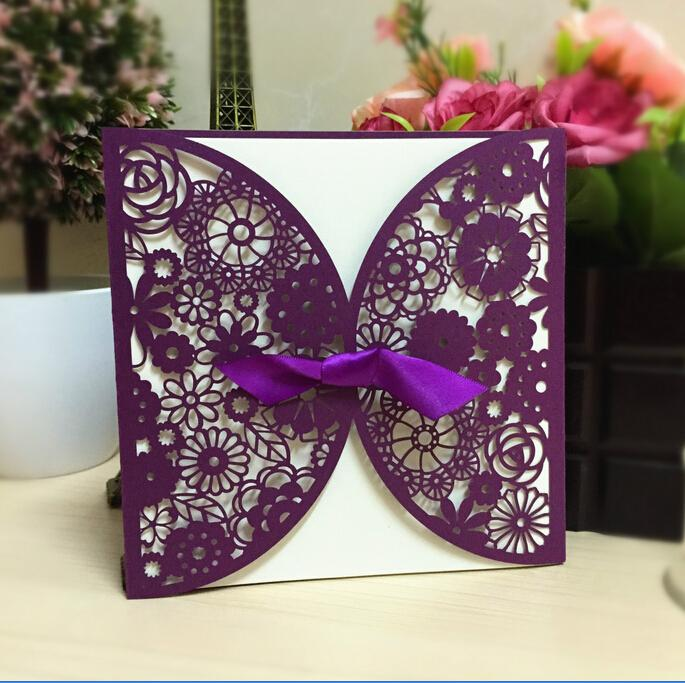 2016 New Purple Wedding Invitations Laser Cut Customizable Hollow Lace Bow Ribbon Wedding ...