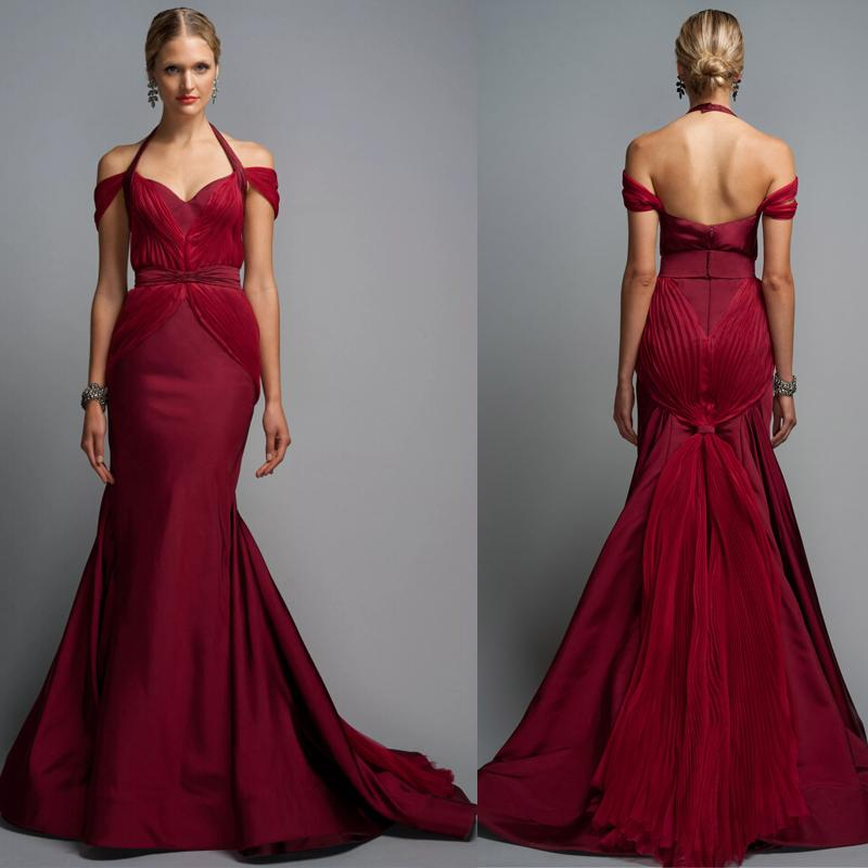 2015 Burgundy Evening Dresses By Zac Posen Sexy Off Shoulder ...
